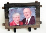 Personalized Photo Rock - Small Rectangle Stone with Wooden Frame