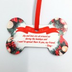 Personalized Christmas Hardboard Ornament Dog Bone