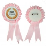 Personalized Button Badge Award Ribbon - Pink (58MM)