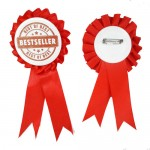 Personalized Button Badge Award Ribbon - Red (58MM)